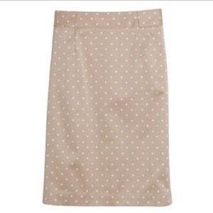 J. Crew | tan polka dot pencil skirt